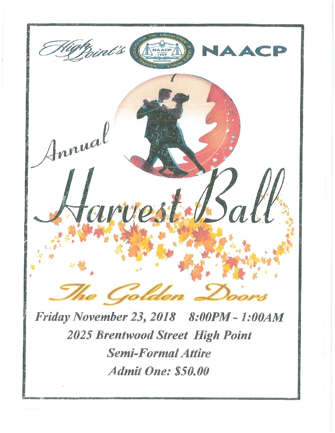 Save The Date: Harvest Ball 2018 Friday Nov 23rd 2018
